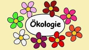 Deutsch som annonserar gemet video 4k- och textekologi Flyga blommor runt om textekologi
