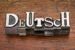 Deutsch word in metal type Stock Photography
