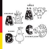 Deutschalfabet Ananas, kaas, peer, kameleon Vectorbrieven en karakters Stock Fotografie
