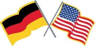 Deutsche amerikanische Flaggen Stockfotos
