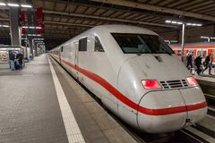 A Deutsche Bahn ICE Intercity bullet train waits at the Munich Main Railway Station Munchen Hauptbahnhof Stock Photo