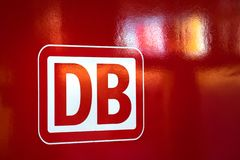 Deutsche bahn sign on a red train in frankfurt am main hesse germany stock images