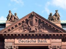 Deutsche Bank building pediment in Bremen Royalty Free Stock Images