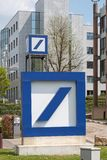 Deutsche Bank Double Sign and Logo. Luxembourg City / Luxembourg - 05 01 2019: Deutsche Bank sign and logo. Deutsche Bank AG is a German multinational investment stock images