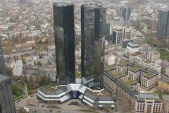 Deutsche Bank Headquarters Arial View in Frankfurt. Frankfurt, Hessen / Germany - April 5 2019: Deutsche Bank headquarters building in Frankfurt Germany the royalty free stock image