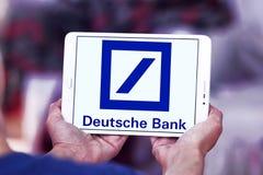 Deutsche bank logo. Logo of deutsche bank on samsung tablet stock photo