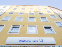 Deutsche Bank. Sign of the Deutsche Bank on a building with copy space above it stock photo