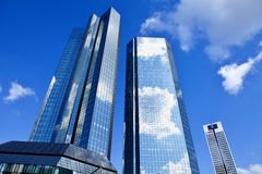 Deutsche Bank towers in Frankfurt am Main, Germany.t Stock Photography