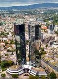 Deutsche Bank Twin Towers stock images