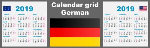 Deutsche do calendário, 2019 molde ajustado alemão da ilustração do ISO 8601 da parede da grade com numeração da semana Ilustraçã ilustração do vetor