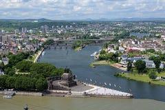 Deutsche Ecke in Koblenz, Deutschland Lizenzfreie Stockfotos