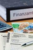 Deutsche Einkommenssteuererklärung Stockbild