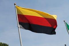 Deutsche Flagge, die hoch fliegt Stockfotografie