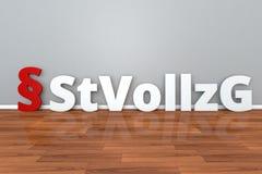 Deutsche Gesetz-StVollzG-Abkürzung für Gesetz auf der Durchführung der Gefangenschaft und des Freiheitsentzugs und stock abbildung