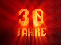 Deutsche goldene Zahl drei?ig Jahre 3d ?bertragen stock abbildung
