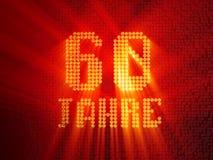Deutsche goldene Zahl sechzig Jahre 3d ?bertragen vektor abbildung