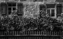 Deutsche Hausfassade der Weinlese Stockfotografie