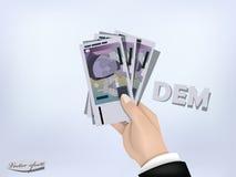 Deutsche mark money paper on hand,cash on hand Stock Photography