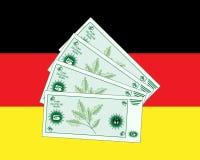 Deutsche mark notes on a German flag background. An illustration of deutsche mark notes on a german flag background Stock Images