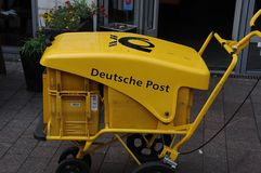 Deutsche post in Flensburg Germany. Flensburg/Schleswig-Holstein/Germany. 05. October 2018.. German mail man Deutsche Post in Flensburg in Germany.. Photo stock image
