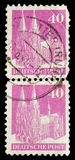 Deutsche Post. Germany - circa 1949: Deutsche Post mail stamp with cathedral architecture Stock Photography