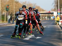 Deutsche Post Marathon, 7 April 2019, Bonn, Germany. Group of Inline Skaters royalty free stock photography