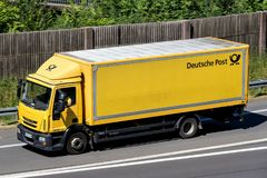Deutsche Post truck on motorway stock photography
