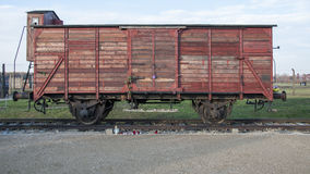 A Deutsche Reichsbahn, goods wagon, one type of rail car used for deportations in Auschwitz II–Birkenau concentration camp. Construction on Auschwitz II Stock Image