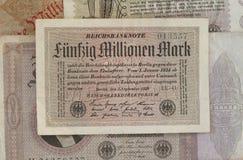 Deutsche Reichsmark Bill, historyczny pieniądze Zdjęcia Stock
