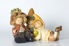 Deutsche Spielzeugzwerge der Weinlese mit Mais Stockfotografie