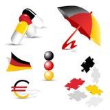Deutsche Symbole, Zeichen und Ikonen Stockfotos