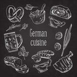 Deutsche traditionelle Lebensmittel-Hand gezeichnetes Entwurfs-Gekritzel Deutschland-Küche-Menü-Schablone Nahrung und Getränk vektor abbildung