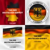 Deutschen einheit sztandaru set, isometric styl ilustracji