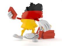 Deutscher Charakter mit Kelle und Ziegelsteinen lizenzfreie abbildung
