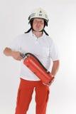 Deutscher Feuerwehrmann in der Uniform Stockbild