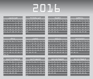 Deutscher Kalender 2016 greyscale Stockfotos