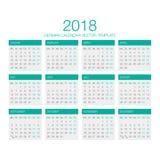 Deutscher Kalender-Vektor 2018 Lizenzfreie Stockfotos