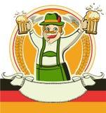 Deutscher Mann und Gläser Bier. Vektor oktoberfest  Stockfotografie