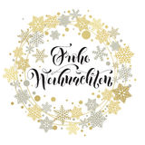 Deutscher Text der frohen Weihnachten Weihnachten-Grußkarte Lizenzfreies Stockbild