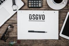 Deutsches allgemeines neues Gesetz der Daten-Schutz-Regelung DSGVO in 201 Lizenzfreie Stockfotografie