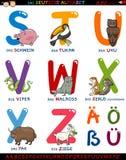 Deutsches Alphabet der Karikatur mit Tieren Stockfotos
