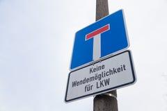 Deutsches aussichtloses StraßenVerkehrszeichen Lizenzfreie Stockfotos