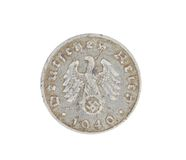 Deutsches coin isolated on white. Back. Stock Photography