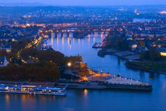 The Deutsches Eck, Koblenz's famous landmark, in Germany. The Deutsches Eck, meaning German Corner is the triangular headland that contains the monument of Royalty Free Stock Images