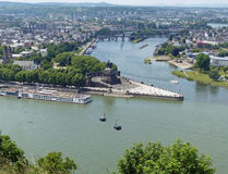 Deutsches Eck, Koblenz. The statue of Kaiser Wilhelm 1 stands where the Moselle meets the Rhine Stock Photo