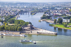 Deutsches Eck - monument at the confluence of rivers in Koblenz Royalty Free Stock Image