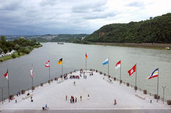 Deutsches Eck near Koblenz Stock Photo