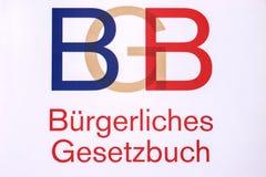 Deutsches Gesetzbuch mit den Buchstaben BGB stockfotos