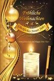 Deutsches Grußkarte ` frohe Weihnachten und guten Rutsch ins Neue Jahr ` Stockfotografie