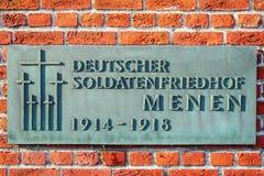 Deutsches Kirchhof friedhof auf Flandern-Gebieten menen Belgien lizenzfreie stockbilder